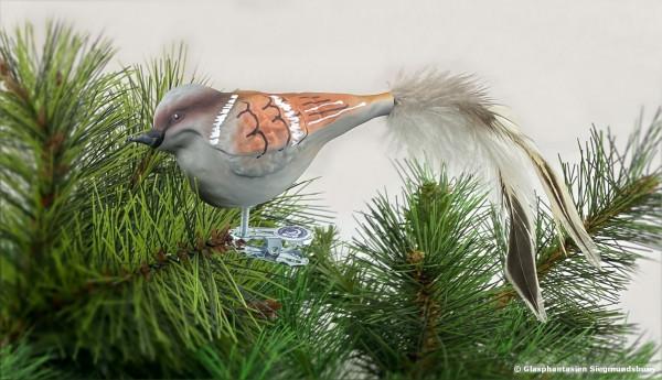 Sperling aus Glas, Naturvogel bemalter Christbaum-Schmuck aus Glas