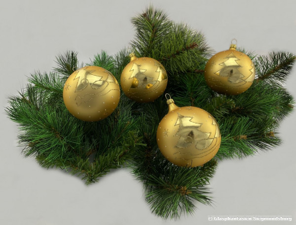 Kugeln 6 cm 4er Set Gelbgold-matt mit glänzenden Bäumen Christbaum-Kugeln, Durchmesser ca. 6 cm