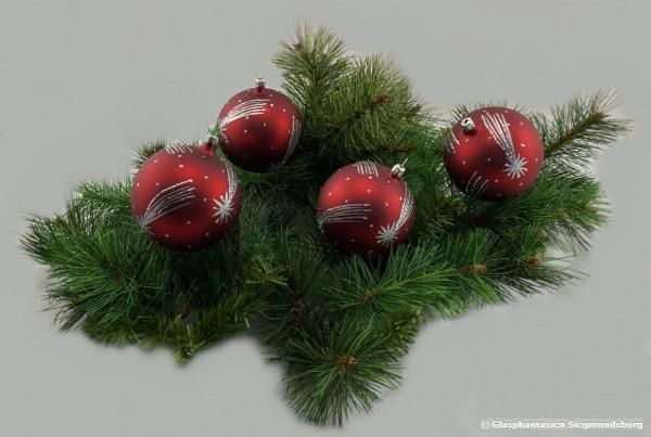 Kugeln 6 cm 4er Set Rot mit Komet silberfarbig Christbaum-Kugeln, Durchmesser ca. 6 cm