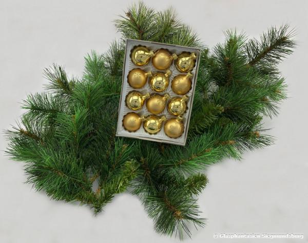 Mini-Kugeln 12er Set, 3cm, Gelbgold-Glanz, Gelbgold-Matt mit Golddekor