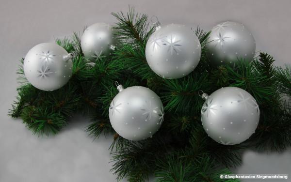 Christbaum-Kugeln 6cm Weiß mit Silberstern u. Punkte 6er Set Kugeldurchmesser ca. 6 cm