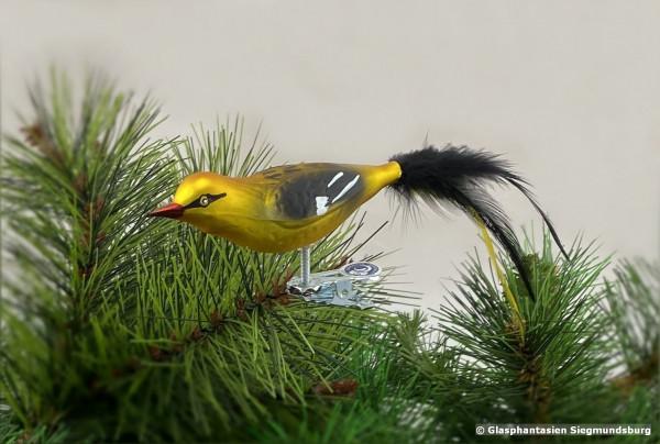 Pirol aus Glas, Naturvogel bemalter Christbaum-Schmuck aus Glas