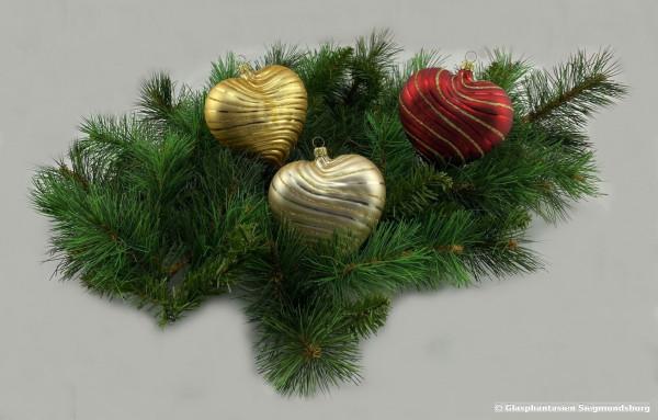 Herzen aus Rillenglas 3er Set 10 cm, Rot-matt, Gelbgold-matt Champagner matt, Größe der Herzen ca. 10 cm