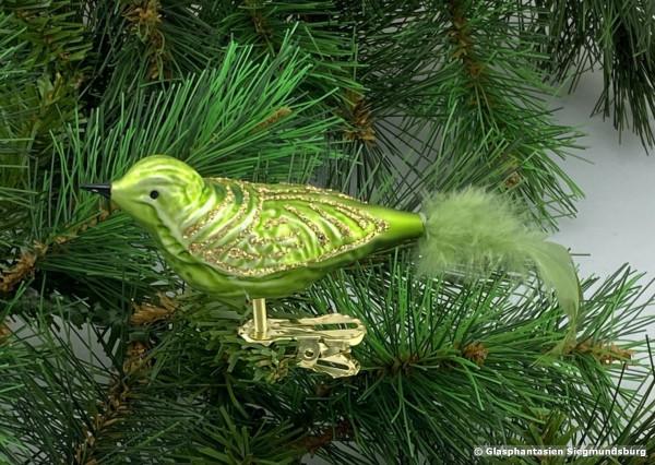 Glasvogel 13 cm Hellgrün mit Goldglimmer 4er Set Gruppe besteht aus 4 gleichen Vögeln