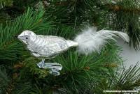 Glasvogel 13 cm Silber-weiß mit Silberglimmer 4er Set Gruppe besteht aus 4 gleichen Vögeln