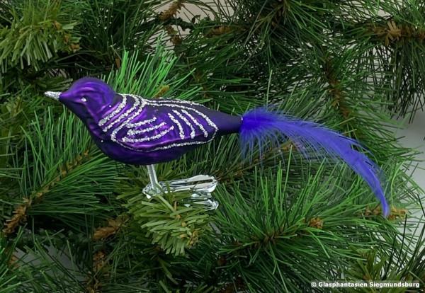Glasvogel 13 cm Lila matt-glanz mit Silberglimmer 4er Set Gruppe besteht aus 4 gleichen Vögeln