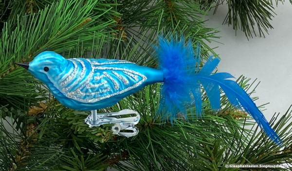 Glasvogel 13 cm Hellblau mit Silberglimmer 4er Set Gruppe besteht aus 4 gleichen Vögeln