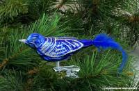 Glasvogel 13 cm Dunkelblau mit Silberglimmer 4er Set Gruppe besteht aus 4 gleichen Vögeln