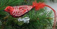 Glasvogel 13 cm Hellrot mit Silberglimmer 4er Set Gruppe besteht aus 4 gleichen Vögeln