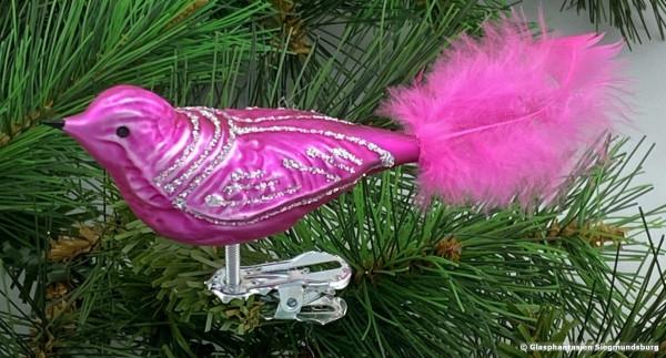 Glasvogel 13 cm Pink mit Silberglimmer 4er Set Gruppe besteht aus 4 gleichen Vögeln