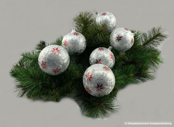 Kugeln 8 cm 6er Set Eislack mit Rotem Lackstern Christbaum-Kugeln, Durchmesser ca. 8 cm