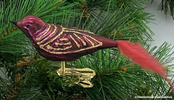 Glasvogel 13 cm Bordeaux mit Goldglimmer 4er Set Gruppe besteht aus 4 gleichen Vögeln