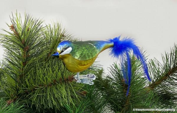 Blaumeise aus Glas, Naturvogel bemalter Christbaum-Schmuck aus Glas