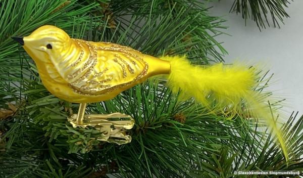 Glasvogel 13 cm Gelb mit Goldglimmer 4er Set Gruppe besteht aus 4 gleichen Vögeln