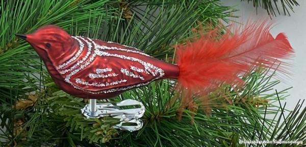 Glasvogel 13 cm Dunkelrot mit Silberglimmer 4er Set Gruppe besteht aus 4 gleichen Vögeln