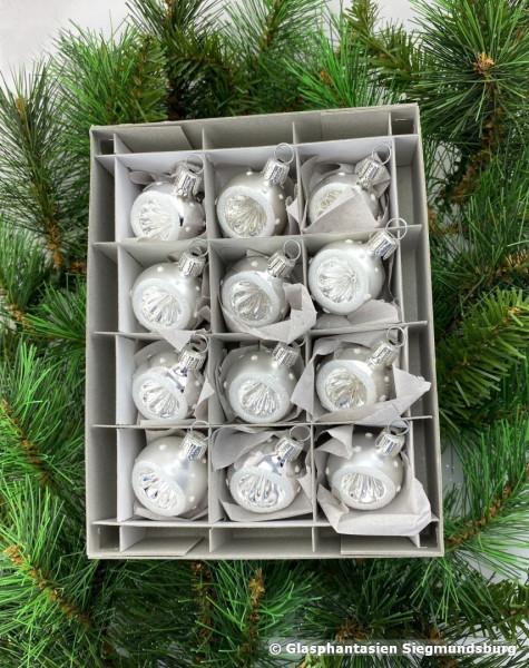 Nostalgische-Mini-Reflex-Kugeln 12er Set, 4 cm Silber-Weiß, Griffelreflex, Kugel-Durchmesser ca. 4 cm