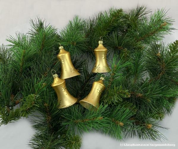 Glocken 6cm 4er Set Gold mit Goldstern dekoriert dies Glöckchen haben einen echten Klöppel