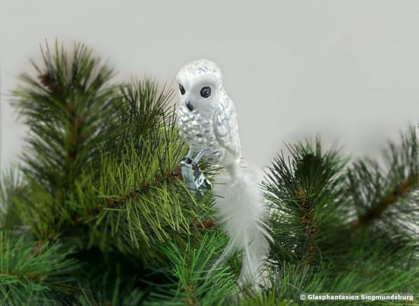 Waldkauz aus Glas, Naturvogel bemalter Christbaum-Schmuck aus Glas