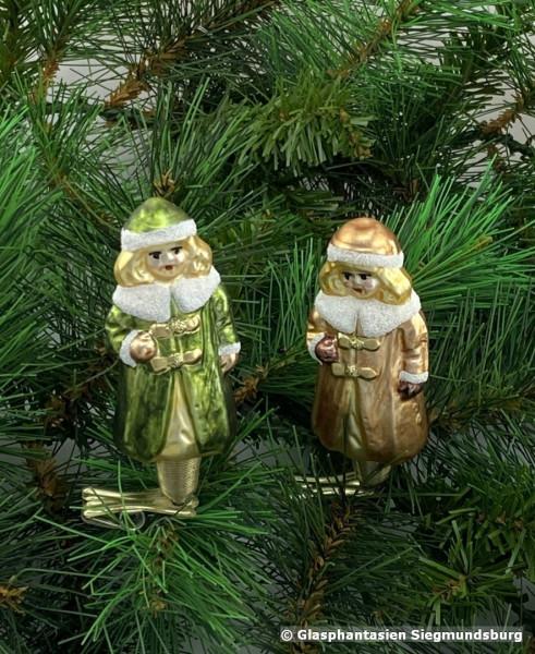 Weihnachts-Frauen, 2er Set ca. 7 cm hoch mit Klemmerfuß